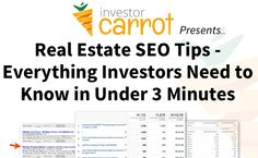 #RealEstate #SEO Tips: Everything Investors Need to Know in Under 3 Minutes Photo