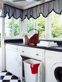 This sunroom (which leads to the yard) offers plenty of room for the washer and dryer and laundry baskets: http://www.bhg.com/rooms/laundry-room/makeovers/hidden-laundry-rooms/?socsrc=bhgpin030214roomwithaview&page=5