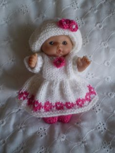 Lovely hand knitted White 5 dolls clothes for by cazjeanknitting, £4.99