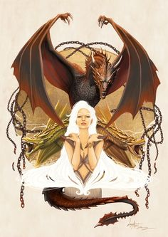 Amazing Illustration of Daenerys Targaryen Based on the Books of A Song of Ice and Fire byLorena Assisi