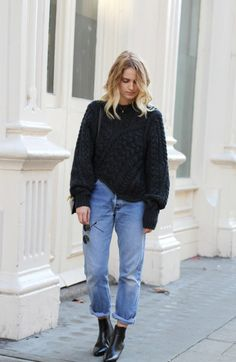 Street Style / Denim + Sweater www.emfashionfiles.com
