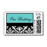 Black and White Damask Wedding Stamps with an aquamarine turquoise ...