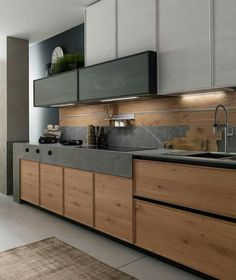 The 30 Best Black Kitchens - Kitchen Trends You Need To See awesome Concrete might look like an unusual alternative for your kitchen, but given the appropriate setting, its rustic, textured look can set only the perfec. Kitchen Room Design, Kitchen Cabinet Design, Home Decor Kitchen, Interior Design Kitchen, Kitchen Designs, Kitchen Layout, Kitchen Ideas, Black Kitchens, Luxury Kitchens