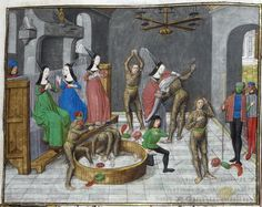 Detail of a miniature of burning costumes of the 'hommes sauvages' during a masked dance in Paris, at the beginning of chapter 32, from  Jean Froissart's Chroniques, Vol. 4, Netherlands (Bruges), c. 1480, Royal MS 18 E II, f. 206r