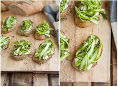 Shaved asparagus and goat cheese crostini