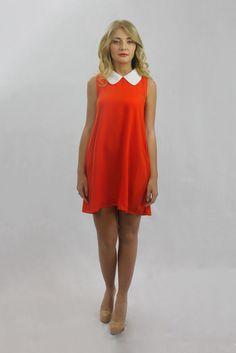This is what I like to call, retro chic! mishpish.com #retrochic #retrodress #orangedress #orange #collardress #sleevelessdress Dinner With Friends, Ladies Night, Retro Chic, Orange Dress, Retro Dress, Collar Dress, Night Out, High Neck Dress, Classy