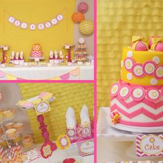 You Are My Sunshine pink and yellow chevron and polka dot birthday party decorations- Etsy.