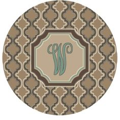 Red Barrel Studio Lanikai Monogrammed Turquoise/Brown Area Rug Letter: W