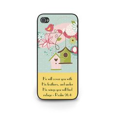 Bible Verse Art Phone Case - iPhone 6 Scripture Phone Case - iPhone 5s Pastel Phone Case iPhone 5c Christian Phone Case Psalm 91:4