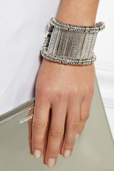 Alexander McQueen | Silver-tone bar cuff - can you do this with safety pins?