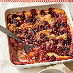 Blackberry Cobbler | MyRecipes.com   I just made this exact same recipe last night ,its all ways quick, easy, & GOOD!!!!!  ( Didn't put cinnamon in mine) use peaches or what ever in season & don't forget the ICE CREAM . (blue bell of course )