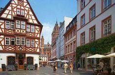 Street view of Kirschgarten, Mainz, where Johannes Gutenberg invented the printing press around 1440.