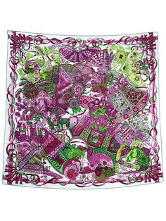 HERMES Auth Silk Scarf Carre 90 AU FIL DU CARRE White Purple FS Excellent #0482 #HERMES #Scarf