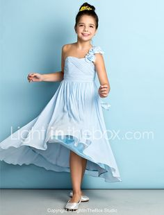 A-Line One Shoulder Asymmetrical Chiffon Junior Bridesmaid Dress with Flower(s) Criss Cross by LAN TING BRIDE® 2017 - €56.36