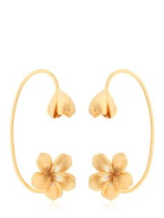 JADE JAGGER - FRANGIPANI FLOWER CUFF EARRINGS - LUISAVIAROMA - LUXURY SHOPPING WORLDWIDE SHIPPING - FLORENCE