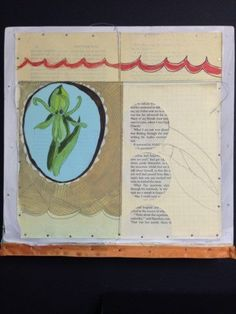 An Original art, paper collage, mixed media, orchids