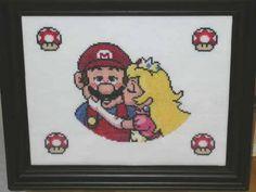 Mario and Princess Cross Stitch Kiss