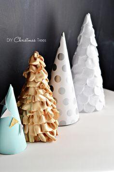 DIY Paper, Fabric & Felt Christmas Trees by littleinspiration #DIY #Christmas #Decorations