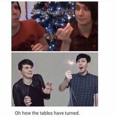 YES<-------- dans only scared cuz last time Phil held an open flame near him he caught Dan on fire