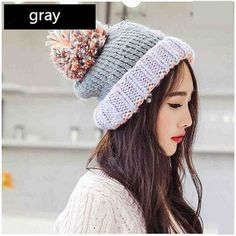 Winter warm knit hat for women spell color hairball stocking cap