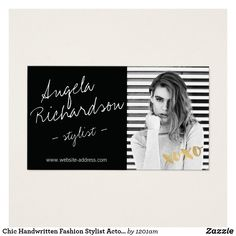 Models and actors modern headshot iv business card business cards chic handwritten fashion stylist actor model photo business card colourmoves