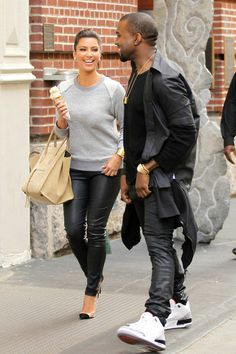 sweater kim kardashian grey sweater casual leather leather pants high heels pumps ice grey autumn spring outfit bag shoes pants jumper light...
