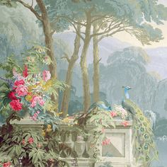 Our exquisite canvas is a beautifully reproduced version of a detail of this unique work of art depicting peacocks in a garden originally designed