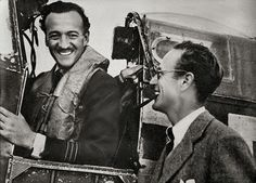 """David Niven and Leslie Howard on the set of """"The First of the Few"""""""