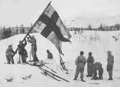 After the Soviet demand, Finns also fought a short war against the Germans in Northern Finland. Finnish flag rises at the border, when last Germans are pushed back into Norway. SA-Kuva