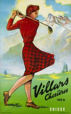 Villars Chesières 1300 m. - Suisse - Vintage Posters - Galerie 123 - The place…