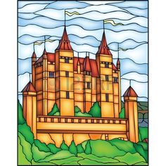 Castle vector stained glass window Stock Vector