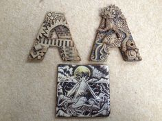 amygration - ceramic letters - organic and industrial themes