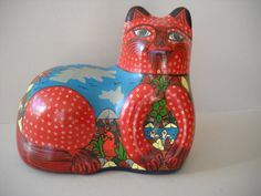 Vintage Hand Painted Mexican Pottery Cat by Modernaire on Etsy