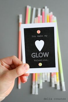 Glow Stick Valentines: Glow sticks are a sure hit with kids, and with this cute printable, you and your kid can easily put together enough for a class.