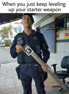 So, here's a photo that's been making the rounds on social media of late: a guy in some official-looking uniform holding a revolver with about a three-foot barrel. Does anyone know the origin of this picture or know anything about the gun? Video Game Memes, Video Games Funny, Funny Games, Swing Tattoo, Insta Memes, Dankest Memes, Jokes, Mala Persona, Cool Guns