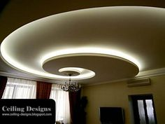 ceiling desings | spiral POP ceiling designs for living room with hidden lights and ...