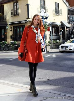 Great coat!  Polka Dot Scarf in Yorkville, #KeepTheColour