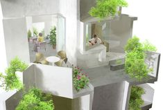 Bridging the gap between nature and architecture, the Tokyo-based architecture office of Akihisa Hirata have designed an organic residential complex. Social Housing Architecture, Layered Architecture, Open Architecture, Residential Architecture, Facade Design, Exterior Design, Interior And Exterior, House Design, Landscape And Urbanism