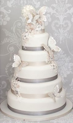 Silver butterfly wedding cake.