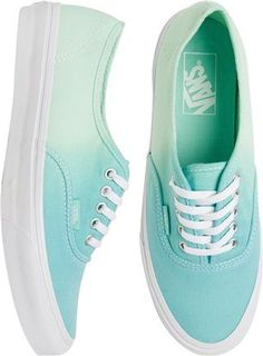 Shop Women's Vans Blue size Athletic Shoes at a discounted price at Poshmark. Description: Vans Blue Turquoise Ombré Sneakers Shoes Women's Size Worn for 30 minutes and in great condition. Mint Vans, Blue Vans, Mint Shoes, Pretty Shoes, Cute Shoes, Me Too Shoes, Cool Vans Shoes, Vans Shoes Women, Fashion Shoes