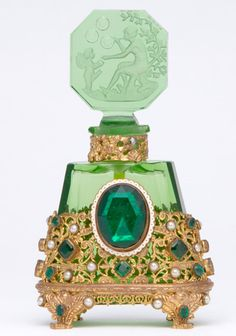 HOFFMAN (Czech) Perfume bottle in green crystal with