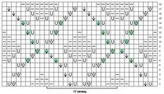 узор 138 ажурные листья| каталог вязаных спицами узоров