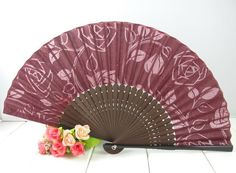 Burgundy Cotton Hand Fan Rose Party Ball Accessory With Free Soft Velvet Pouch