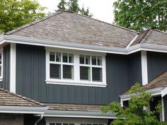 board and batten siding, shingle roof.  maintenance