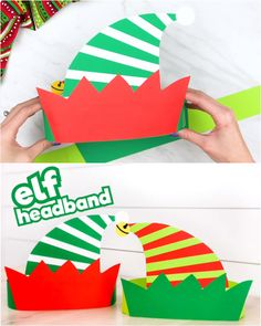 This elf headband craft for kids is a fun DIY that comes with a free printable template! Print the template in full color, black and white for kids to color in, or the craft version to make your own c Winter Crafts For Kids, Paper Crafts For Kids, Noel Christmas, Christmas Crafts For Kids, Halloween Crafts, Holiday Crafts, Craft Kids, Christmas Activities, Diy Christmas Hats