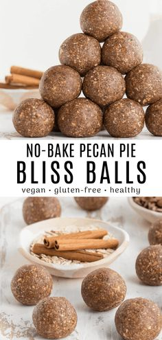 These pecan pie bliss balls are an easy and healthy fall recipe! They are vegan gluten-free and loaded with nutrients. Each bite-sized energy ball is filled with pecans cinnamon nutmeg and allspice. Raw Vegan Recipes, Vegan Dessert Recipes, Vegan Sweets, Vegan Snacks, Gluten Free Recipes, Whole Food Recipes, Snack Recipes, Corn Recipes, Healthy Recipes