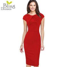 Large Size 4XL Elegant Fitted Women Dress 2016 Fashion Summer Short Sleeve Fold Neckline Zipper Back Sheath Knee-Length Dress