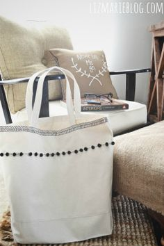 Decorate a canvas bag from Hobby Lobby.