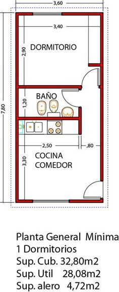 Vivienda de 1 dormitorio ampliable a 3 dormitorios en un futuro - Viviendas Tríade Studio Apartment Floor Plans, Apartment Plans, Tiny Spaces, Small Apartments, Small House Plans, House Floor Plans, Tyni House, Mini Loft, Casas Containers