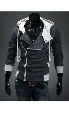 A very unique Double Layered Incline Zipper Hoodie - Charcoal available M-XXL. Makes a strong fashion statement as it's very rare to see such a hoodie in this style.